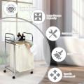 Laundry Hamper Basket Cart with Shelf and Removable Bag
