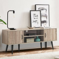 TV Stand with 2 Storage Cabinets and 2 Open Shelves