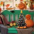 15 Inch Pre-Lit Ceramic Hand-Painted Tabletop Halloween Tree
