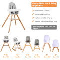 3-in-1 Convertible Wooden Baby High Chair