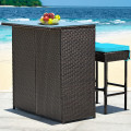 3 Pieces Patio Rattan Wicker Bar Table Stools Dining Set