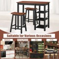 3 Piece Counter Height Dining Table Set with 2 Saddle Stools and Storage Shelves