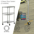 3-Tier Utility Cart Heavy Duty Wire Rolling Cart with Handle Bar Storage Trolley
