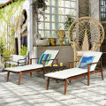 3 Pieces Protable Patio Cushioned Rattan Lounge Chair Set with Folding Table