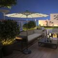 10' Solar LED Lighted Patio Market Umbrella Shade Tilt Adjustment Crank