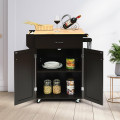 Utility Rolling Storage Cabinet Kitchen Island Cart with Spice Rack