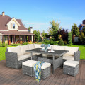 7 Pieces Patio Rattan Dining Furniture Sectional Sofa Set with Wicker Ottoman