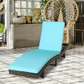 Patio Folding Adjustable Rattan Chaise Lounge Chair with Cushion