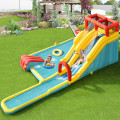 7-in-1 Inflatable Dual Slide Water Park Bounce House Without Blower
