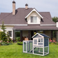Outdoor Wooden Rabbit Hutch with Asphalt Roof and Removable Tray