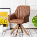 Mid Century Swivel Accent Chair PU Leather Vanity Study Armchair Brown