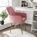 Accent Upholstered Arm Chair with Steel Gold Legs