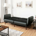 Convertible Futon Sofa Bed PU Adjustable Couch Sleeper with Wood Legs