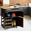 Kitchen Cart with Rubber Wood Top 3 Tier Wine Racks 2 Cabinets
