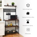 4-Tier Kitchen Rack Stand with Hooks and Mesh Panel