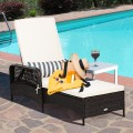 PE Rattan Chaise Lounge Chair Arm Chair Recliner Adjustable with Pillow