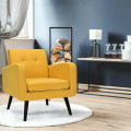 Modern Upholstered Comfy Accent Chair with Rubber Wood Legs