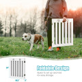 """24"""" Folding Wooden Freestanding Dog Gate with 360° Flexible Hinge for Pet"""