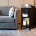 3-Tier Nightstand Bedside Table Sofa Side with Double Shelves Drawer