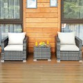 3 Pieces Patio Rattan Furniture Bistro Sofa Set with Cushioned