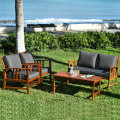 4 Pcs Wooden Patio Furniture Set Table Sofa Chair Cushioned Garden