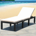 Patio Rattan Cushioned Height Adjustable Lounge Chair