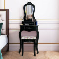 Makeup Dressing Table and Bench 3 Drawers and Cushioned Stool for Girls
