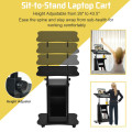 Sit-to-Stand Laptop Desk Cart Height Adjustable with Storage