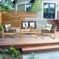 4 Piece Outdoor Acacia Wood Chat Set with Removable Cushions and Table