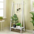 A-Frame Wood Clothing Hanging Rack with Storage Shelf
