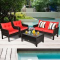 4 pcs Patio Rattan Free Combination Sofa Set with Cushion and Coffee Table