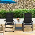 2 Pcs Outdoor Folding Patio Chairs with Adjustable Backrest for Bistro and Backyard