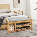 3-Tier Bamboo Shoe Rack Bench with Cushion