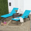2 Pcs Patio Rattan Adjustable Back Lounge Chair with Armrest and Removable Cushions