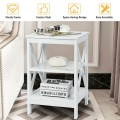 3-Tier Nightstand End Table with X Design Storage, Shelves