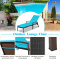 Outdoor Adjustable Reclining Patio Rattan Lounge Chair with Cushion and Wicker Armrest for Garden, Balcony, Poolside