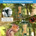 Squirrel-proof Caged Tube Wild Bird Feeder Outdoor Metal Seed Guard Deterrent