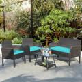 4Pcs Patio Rattan Wicker Furniture Set Conversation Sofa Bench Cushion