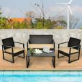 4 Pcs Patio Rattan Furniture Set Cushioned Sofa Coffee Table Garden Deck
