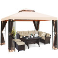 10 x 10 ft 2 Tier Vented Metal Gazebo Canopy with Mosquito Netting