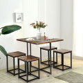 5 Pcs Metal Frame Dining Set with Compact Dining Table and 4 Stools