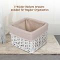 2Pcs Bedroom Bedside End Table with Drawer Baskets