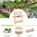 Garden Potting Bench Workstation Table with Sliding Tabletop Sink Shelves