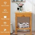 Multipurpose Bamboo End Table  with Drawer and Storage Shelf for Living Room