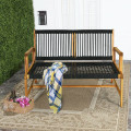 2-Person Acacia Wood Yard Bench for Balcony and Patio