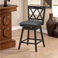 2 Pieces 24 Inches Swivel Counter Height Barstool Set with Rubber Wood Legs