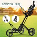 Folding 3 Wheels Golf Push Cart with Brake Scoreboard Adjustable Handle