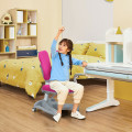 Adjustable Height Student Chair with Sit-Brake Casters and Lumbar Support for Home and School