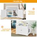 Wooden Cat Litter Box Enclosure Hidden Cat Washroom with Storage Layer