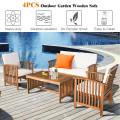 4PCS Patio Solid Wood Furniture Set